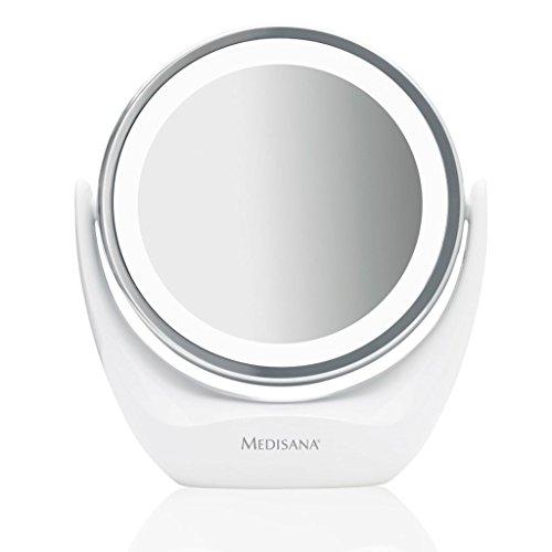 Medisana CM 835 ronde make-up spiegel - tafelspiegel met LED-verlichting en 5-voudige vergroting - make-up spiegel met 360 ° draaifunctie - 88554