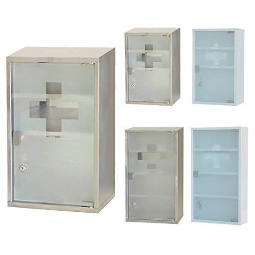 Style home Medizinschrank Arzneischrank Edelstahl Erste Hilfe Schrank mit Schloss und Glas-Tür 3 Fächer (Silber, 45x30x12cm)