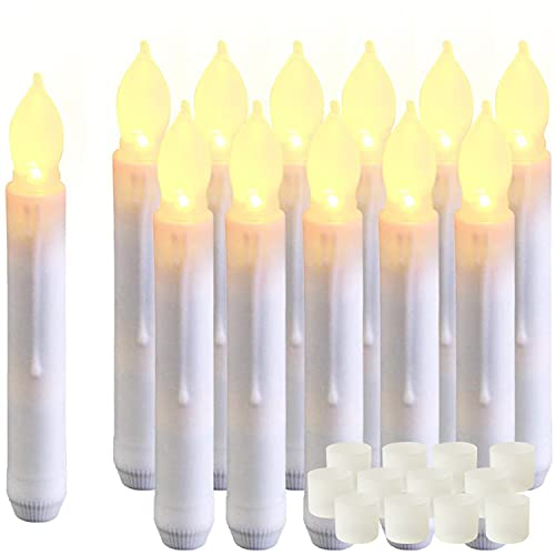 Amagic 12PCS Floating Candles, 6.5 Inch Flameless LED Taper Candle Lights, Battery Operated Candlesticks for Party Halloween Church Christmas, Warm White, Handheld