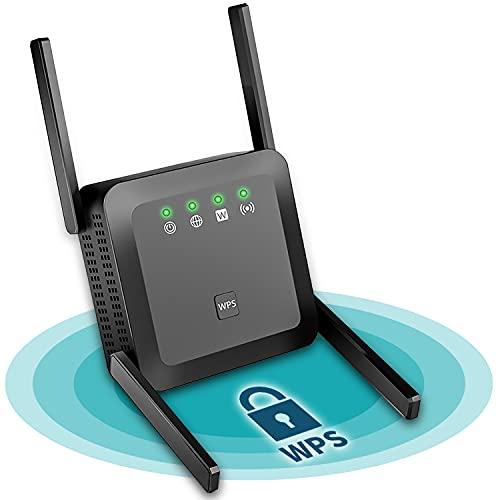 YOMERA WLAN Repeater, 1200Mbit/s WLAN Verstärker Bereich 250㎡, Dualband 5GHz 2,4GHz WiFi Verstaerker mit Zugangspunkt Port Ethernet/LAN/WPS, WiFi Booster Extender Repeater AP Router Modus