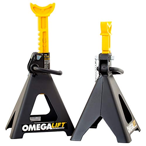 Omega Lift 32068 Heavy Duty Jack Stands 6 Ton Pair - Double Locking Pins - Handle Lock and Mobility Pin for Auto Repair Shop with Extra Safety, Black