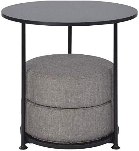H-CAR - Tavolino da salotto, tavolino da caffè, tavolino da divano, in metallo, 2 ripiani, piccolo divano rotondo con cuscino, semplice tavolo da lettura per computer portatile, 55 x 55 cm (colore A)