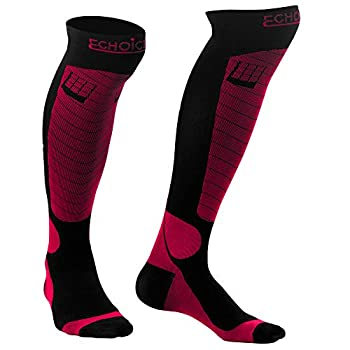 LuChoice Professional Compression Socks 20-30 mmHg  1-Pair  Medical & Orthopedic Support - Anti-Fatigue Diabetic - Athletics Nursing Pregnancy - Men and Women  Large/X-Large Pink