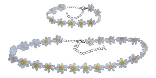 dunns-jewels Cute Hippie Chick Lace Yellow and White Daisy Choker and Bracelet Set