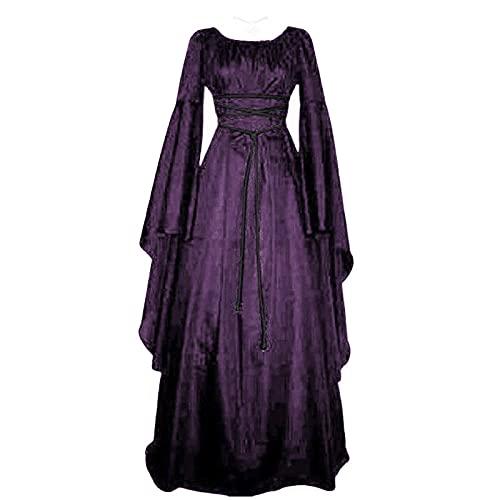 HXZH - Costume da donna, a maniche lunghe, stile retrò, gotico, per cosplay, patchwork, medievale, lunghezza al pavimento, stile vintage vittoriano, stile fiera, Viola, L