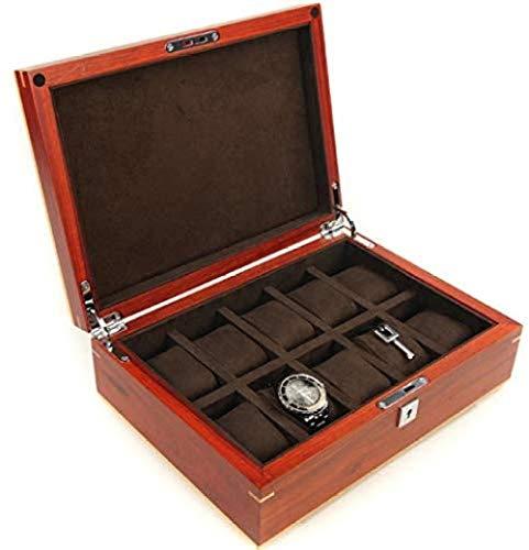 Hoge kwaliteit Stevige Houten Watch Box Organizer Afneembare Mat 10 Slot Gift For Men Creative Simple Retro Vitrine Met Verjaardagscadeau Juwelen Juwelen Doosjes, display van het horloge Organizer, Wa