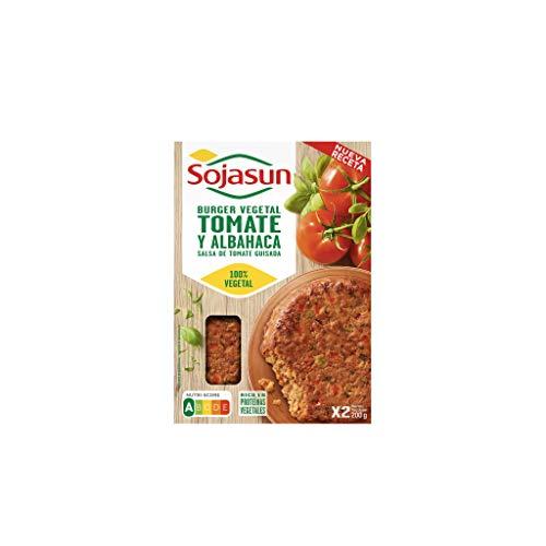 Sojasun Hamburguesa de Soja, 100% Vegetal Tomate Albahaca, 2 Unidades
