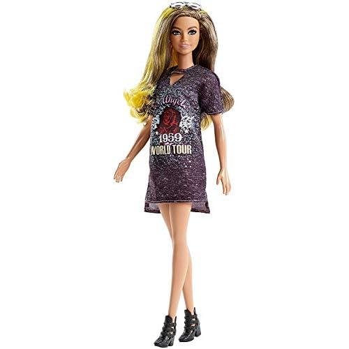 Barbie Fashionistas Bambola con Riflessi Gialli e Print Vestito, Uno Stile da Collezionare, FJF47