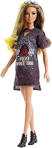 Barbie- Fashionistas Bambola con Riflessi Gialli e Vestito Stampato, Multicolore, FJF47