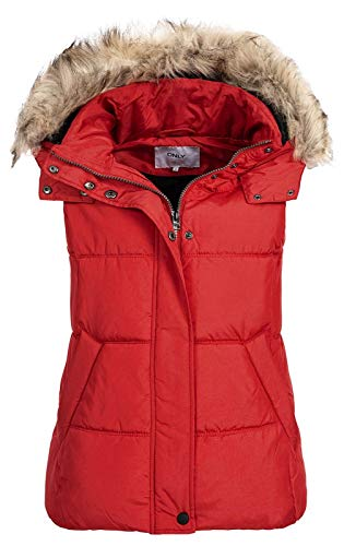 ONLY Damen Steppweste North Nylon Waistcoat mit Fellkapuze 15183616 Goji Berry M
