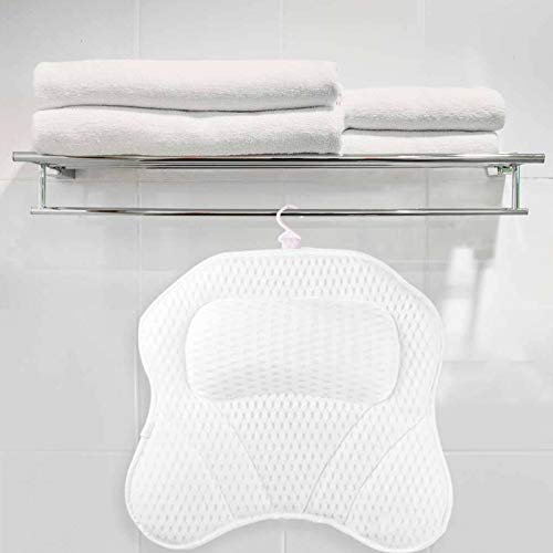 Bath Pillow Premium Bathtub Pillow Ergonomic Bath Pillows for Tub with 6 Strong Non-Slip Suction Cups and Comfortable Washable 3D Air Mesh Tub Pillow Fits All Bathtub, Hot Tub, Jacuzzi and Home Spa
