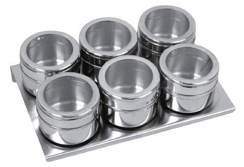 Equinox 505252 Lot 6 Boîtes à Épices Magnétique INOX/Acrylique