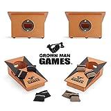 Grown Man Games Mini Cornhole- Portable Cornhole Game - Mini Bean Bag Toss Game - Cornhole Drinking Game - Party Game - Tabletop Cornhole - Desktop Cornhole - Outdoor & Indoor Cornhole Set