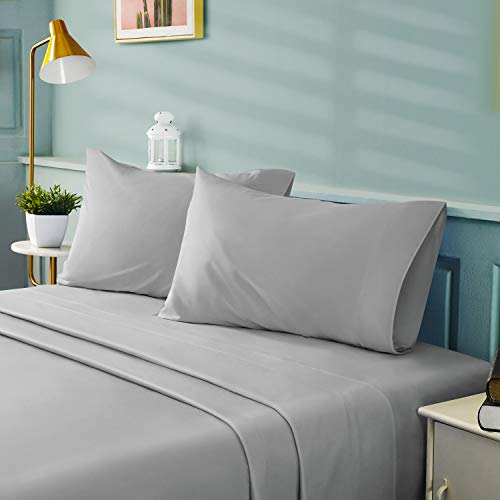 BYSURE 4 Pieces Queen Bed Sheet Set - 1800 Soft Durable Brushed Microfiber, 15 Inch Deep Pockets, Wrinkle & Fade Resistant (Queen, Light Gray)