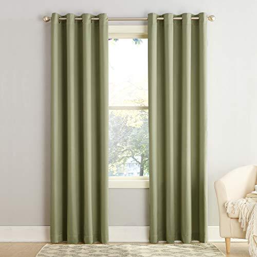 "Sun Zero Barrow Energy Efficient Grommet Curtain Panel, 54"" x 84"", Sage Green"