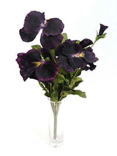 29 cm Grand Composition Florale artificielle Pensées Bush – Violet