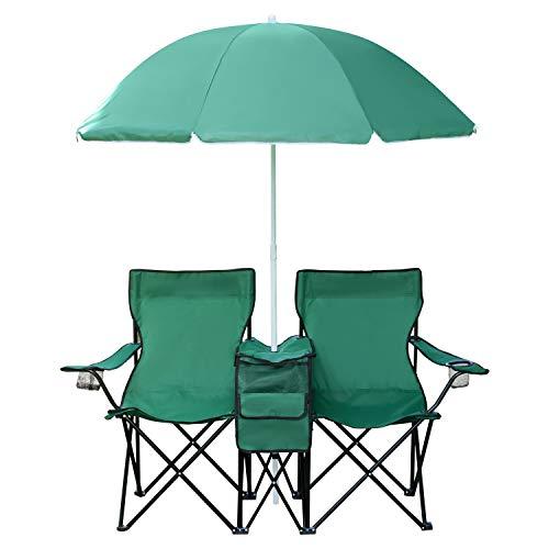 1PLUS 2er Partner Campingstuhl, klappbar, mit Sonnenschirm und Kühlfach - Doppelsitzer Anglerstuhl für 2 Personen (grün)