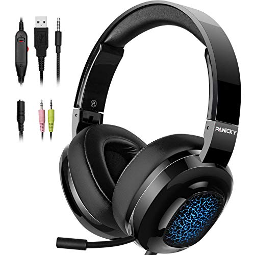 PANICKY Gaming Headset PS4, Xbox one Headset with mic, Headphone with LED Light/Noise Canceling Microphone/Soft Memory Earmuffs/Surround Sound.Compatible with PC, PS4, Xbox One, Nintendo Switch.