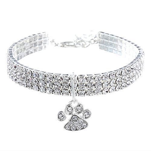Collar de cristal para perro con diamantes de imitación, para mascotas y perros pequeños, color blanco