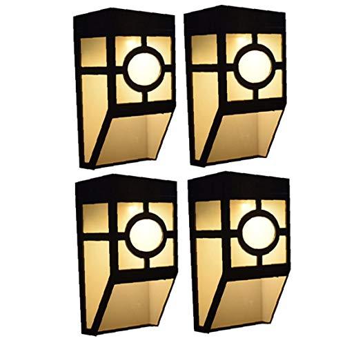 OMMO LEBEINDR Solarwandleuchten Im Freien Wasserdichten Retro Led Pane Lampe Für Deck Zaun Veranda Haustür Treppen Landschaft Yard Warme Licht 4pcs Heimversorgung
