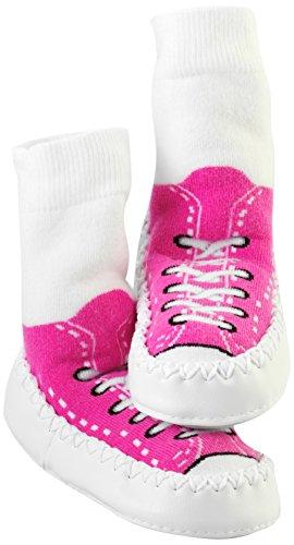 Mocc Ons Cute Moccasin Style Slipper Socks (Sneaker Fuschia)