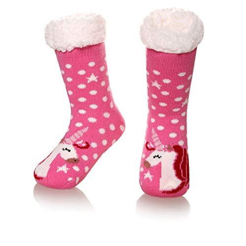 Kids Boys Girls Warm Slipper Socks Cute Animal Soft Thicken Winter Thermal Fleece Fuzzy Non-Skid Children Home Socks (Rose Red, 8-12 Years)