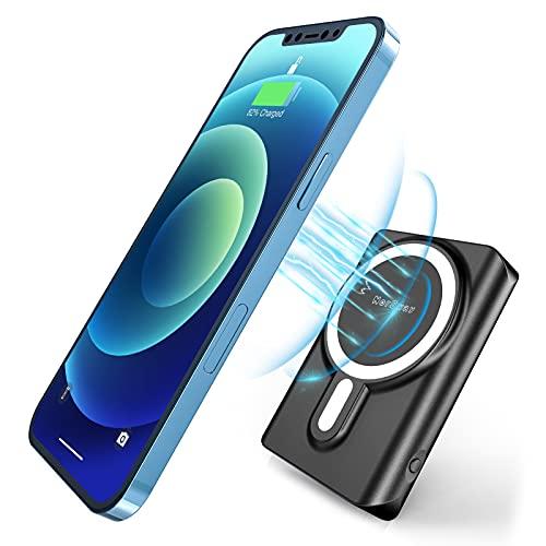 NorSway Wireless Powerbank 10000mAh, Qi-Zertifiziert, 18W Tragbares Ladegerät mit Digitale Anzeige LED Licht und USB-Anschlüssen, Magnetisch Kabelloses Ladegerät für iPhone 12/12Pro/12Pro Max/12 Mini