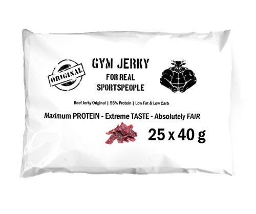 !Neue Rezeptur! Gym Jerky Beef Original 1kg | 25x40g | High Protein 55{7f2785ebde2ee76cb7290944b03c2d8bfe003fa20202e38315df2098638f1463} | Low Fat & Low Carb | Hergestellt in Deutschland