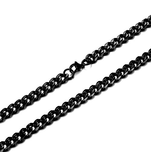 Jonline24h Mens Stainless Steel Necklace Chain 18-30inches, Black, 6.5mm(24)