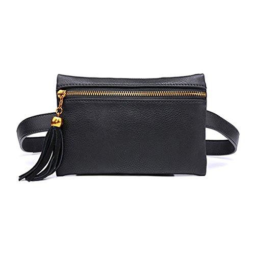 OuYou Riñonera Mini Cuero de PU Bolso de Cintura Multifunción Bolsa de Cinturón de Flecos con Cremallera para Mujeres Niñas Negro Moda