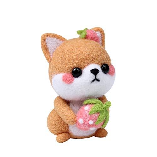 Exceart 1 Satz Cartoon Sitzen Hund Plüsch Puppe Hund Plüsch Kuscheltiere DIY Nadel Filzwerkzeug Wolle Filz Liefert DIY Plüsch Puppe Geschenk für Kinder