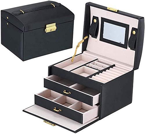 Joyero organizador de joyas con 2 cajones de tres capas de piel sintética de terciopelo con espejo y cerradura para guardar anillos, pulseras, pendientes-Negro