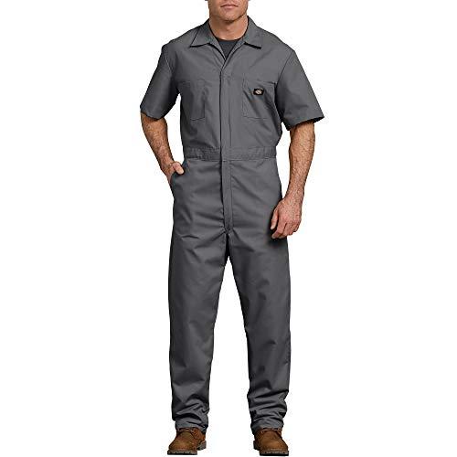 Dickies Men's Short Sleeve Coverall, Gray, Medium Tall