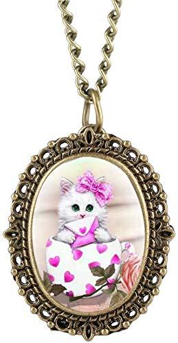 DSHUJC Zakhorloge Lovely Cute Cat Pattern Zakhorloge Ovaal Klein Elegant Dameshorloges met kettinghanger Klokgeschenken