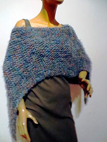 Damen Poncho, graublau meliert, kuschelweich, kann man auch unter einem Mantel tragen