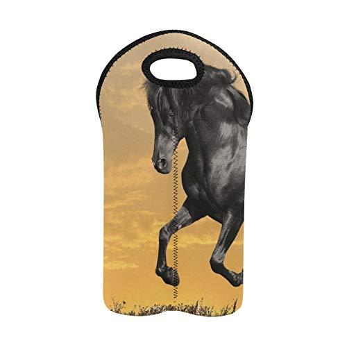 Wein Einkaufstasche Tiere Pferde Manipulation Cg Digital Art Sky Clo Reise Weintasche Doppelflaschenträger Picknick Weintasche Dicker Neopren Weinflaschenhalter hält Flaschen gesch