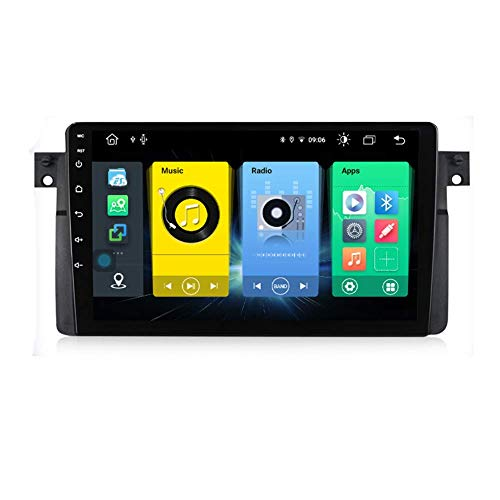 Android 9.0 Car Stereo Radio Double Din Sat Nav para BMW E46 M3 Rover 75 Coupe 318/320/325/330/335 Navegación GPS Reproductor multimedia con pantalla táctil de 9 pulgadas Receptor de video con 4G DSP