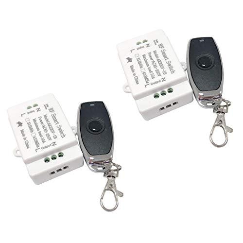 perfk Interruptor de de Control Remoto Inalámbrico AC220V de 2x433 MHz + Transmisor de Una Sola Tecla