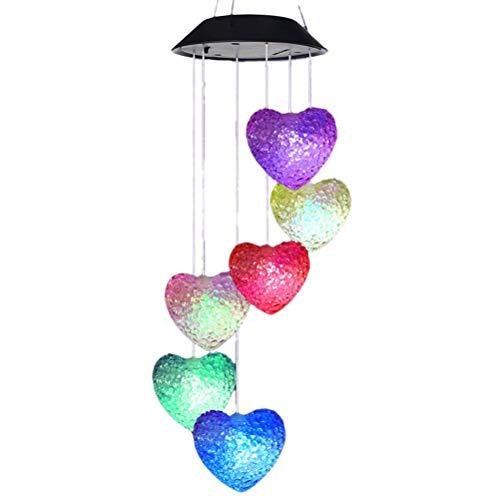 Fovor Decoración de San Valentín, LED Solar de viento campanillas de luz 6 LED colorido corazón viento campanilla lámpara colgante jardín lámpara
