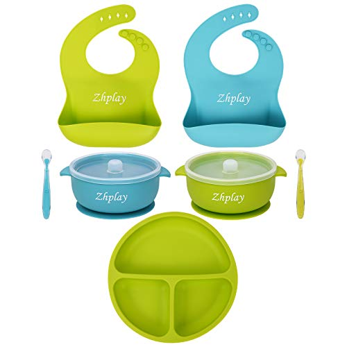 7 Piece Baby Feeding Set,2 Silicone Baby Bibs,1 Divided Plate Suction Bowl,2 Strong Suction Bowl&2 Soft Spoon Set,Safe and Clean,Food Grade Silicone,Best Gift for Baby