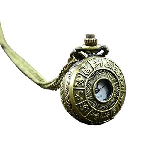 Reloj de Bolsillo deCuarzo Retro Vintage,Collar Steampunk, Colgante de Talla, Cadena, Reloj, Collar para Hombres y Mujeres, Relojes del zodíaco Chino