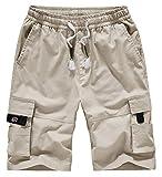 VtuAOL Men's Casual Cargo Shorts Elastic Waist Relaxed Fit Shorts with Drawstring Beige Asian 5XL/US 36