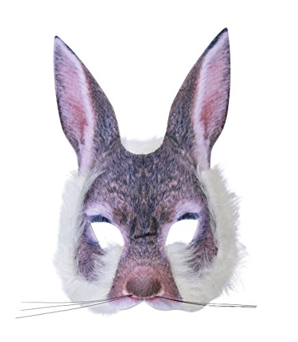 Forum Novelties X78554 Rabbit 3D Screen Print Realistic Look Soft Face Mask Fun Fur Adult Or Child, One Size, Bunny, Pack of 1