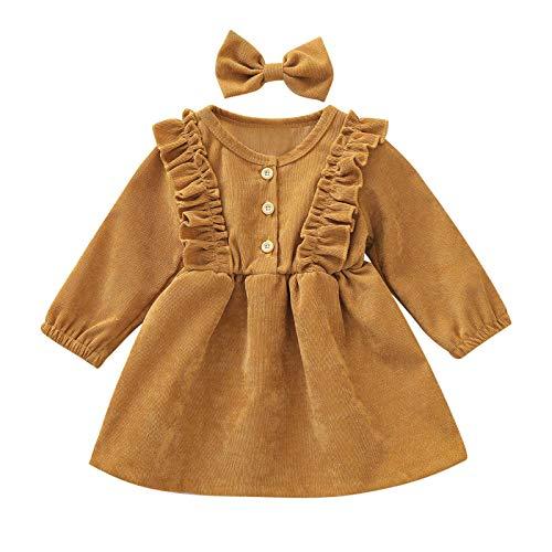 Julhold Kordsamtkleid für Kleinkinder, Baby, Kinder, Mädchen, Rüschen, mit langen Ärmeln, Rock und Haarband. Gr. 92, gelb