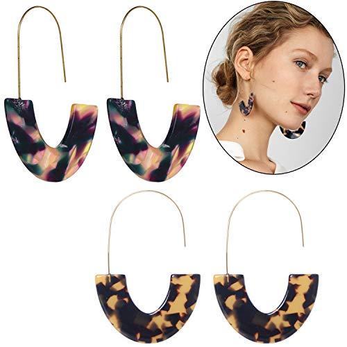 Ouinne 2 Paar Acryl Ohrringe Schildkröte Ohrringe Leopard Tropfen Statement Ohrringe Creolen Damen Valentinstag