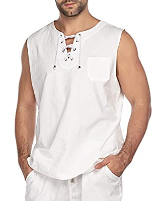 COOFANDY Mens Fashion T Shirt Cotton Tee Hippie Shirts Sleeveless Beach Yoga Top White