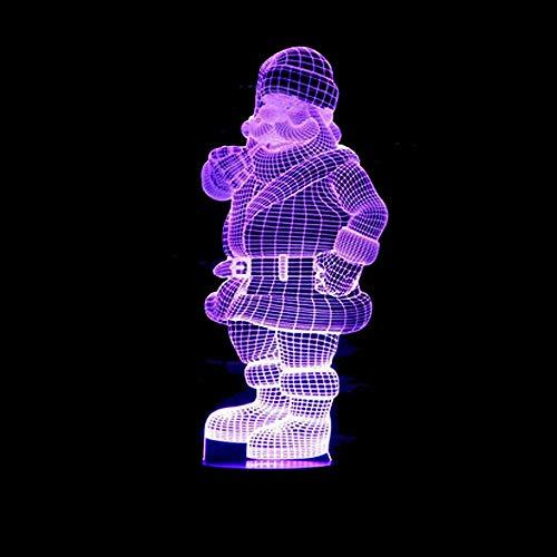 VIWIV Lámpara de Escritorio LED Colorido Degradado Santa Claus 3D lámpara de Mesa estéreo luz Nocturna Junto a la Cama táctil Remoto USB imaginativo Navidad 20 * 13 cm