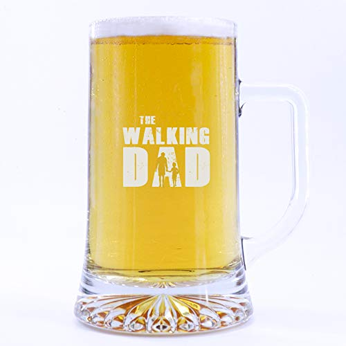 PROMO SHOP Jarra de Cerveza de Vidrio The Walking Dad ½ litro. 50 cl · Regalo Original Personalizado para Padres