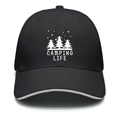 Camping Sign Happy Camper Unisex Washed Twill Cotton Baseball Cap Vintage Adjustable Hat