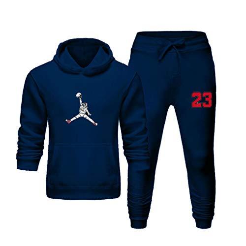 WBLKD Trajes de chándal de Jerseys Casuales para Hombres 2 Piezas Sports Outdoor Sports Jogging Sudadera con Capucha Blue-XL